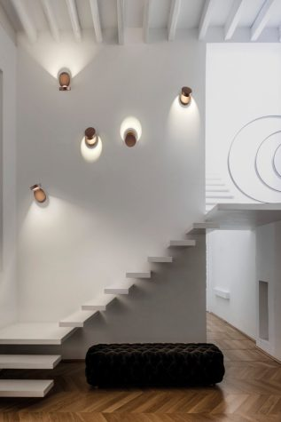 Stairs designed by Charlie Graf von Rex in the home of Veronica Passerin d'Entreves, in Florence